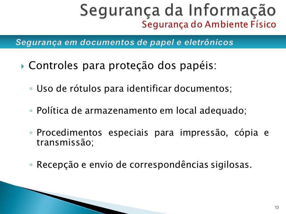 Controles para proteção dos papéis: Uso de rótulos para identificar documentos; Política de armazenamento em local adequado; Procedimentos especiais p