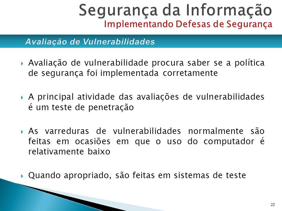 Avaliação de vulnerabilidade procura saber se a política de segurança foi implementada corretamente A principal atividade das avaliações de vulnerabil