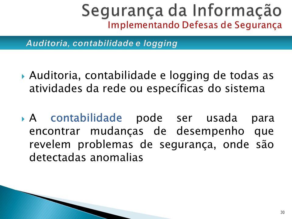 Auditoria, contabilidade e logging de todas as atividades da rede ou específicas do sistema A contabilidade pode ser usada para encontrar mudanças de
