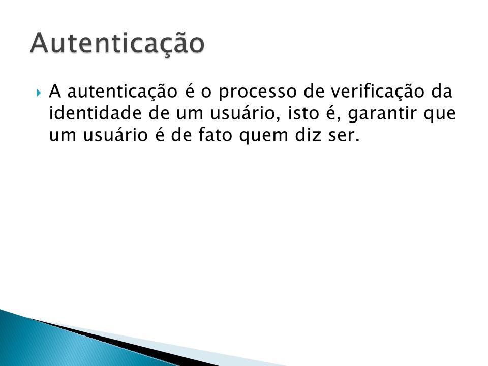 A autenticação é o processo de verificação da identidade de um usuário, isto é, garantir que um usuário é de fato quem diz ser.