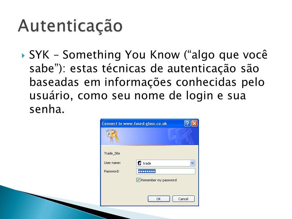 SYK – Something You Know (algo que você sabe): estas técnicas de autenticação são baseadas em informações conhecidas pelo usuário, como seu nome de lo