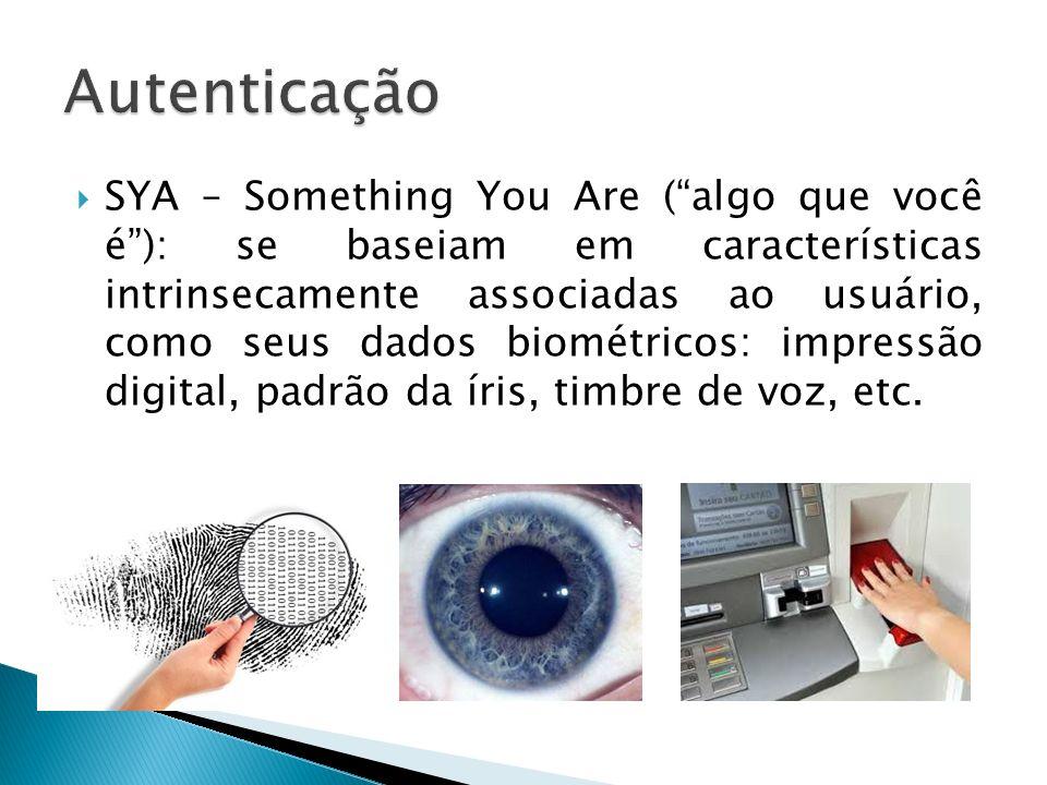 SYA – Something You Are (algo que você é): se baseiam em características intrinsecamente associadas ao usuário, como seus dados biométricos: impressão