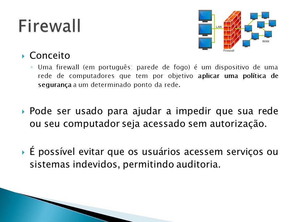 Conceito Uma firewall (em português: parede de fogo) é um dispositivo de uma rede de computadores que tem por objetivo aplicar uma política de seguran