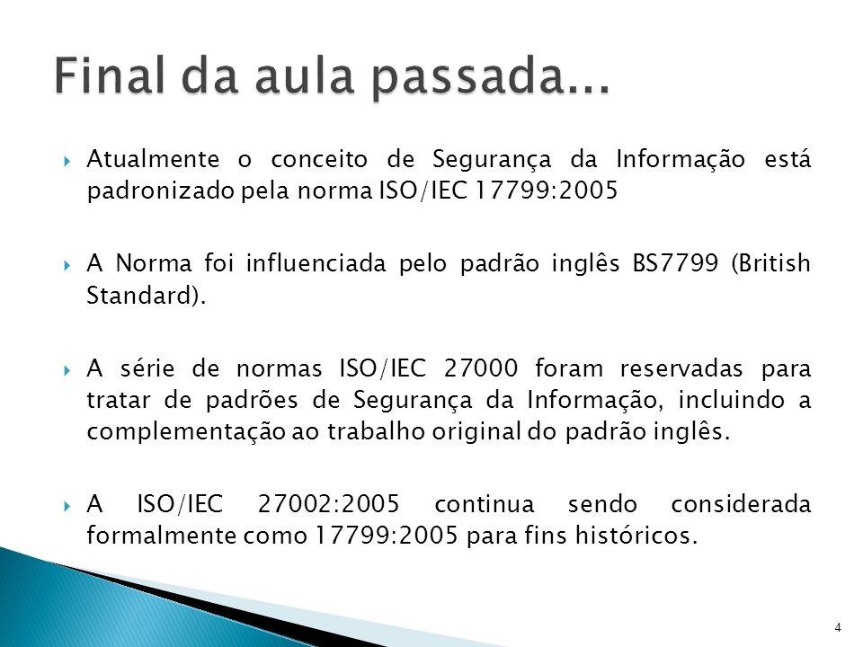 Atualmente o conceito de Segurança da Informação está padronizado pela norma ISO/IEC 17799:2005 A Norma foi influenciada pelo padrão inglês BS7799 (Br