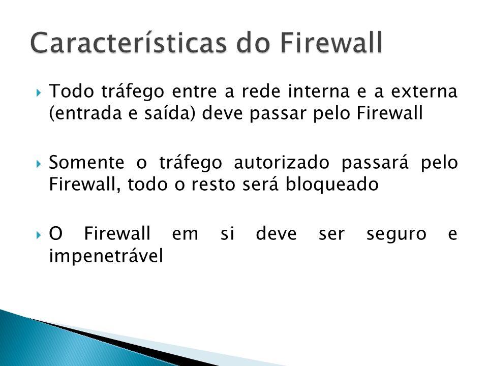 Todo tráfego entre a rede interna e a externa (entrada e saída) deve passar pelo Firewall Somente o tráfego autorizado passará pelo Firewall, todo o r