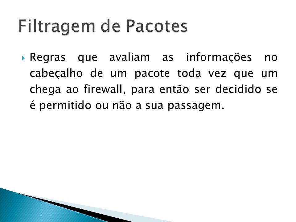 Regras que avaliam as informações no cabeçalho de um pacote toda vez que um chega ao firewall, para então ser decidido se é permitido ou não a sua pas