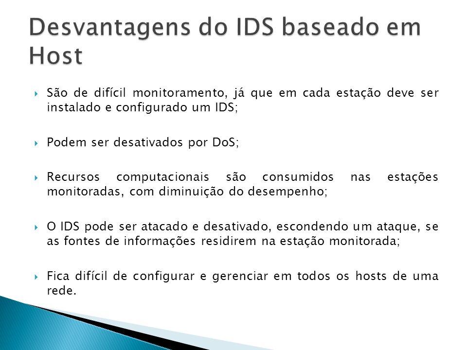 São de difícil monitoramento, já que em cada estação deve ser instalado e configurado um IDS; Podem ser desativados por DoS; Recursos computacionais s