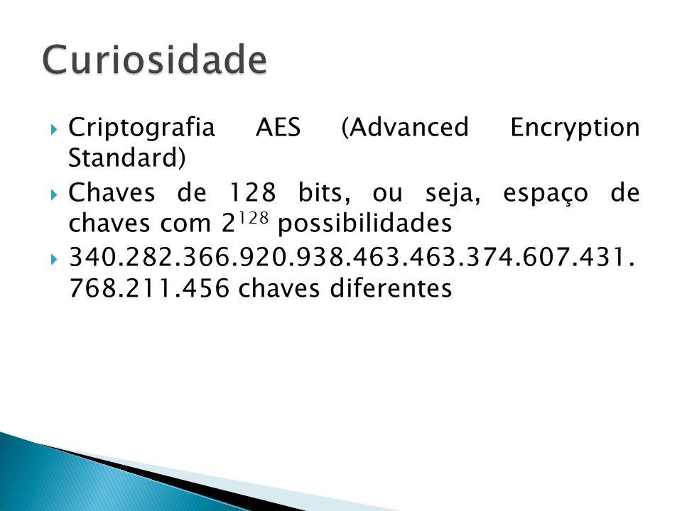 Criptografia AES (Advanced Encryption Standard) Chaves de 128 bits, ou seja, espaço de chaves com 2 128 possibilidades 340.282.366.920.938.463.463.374