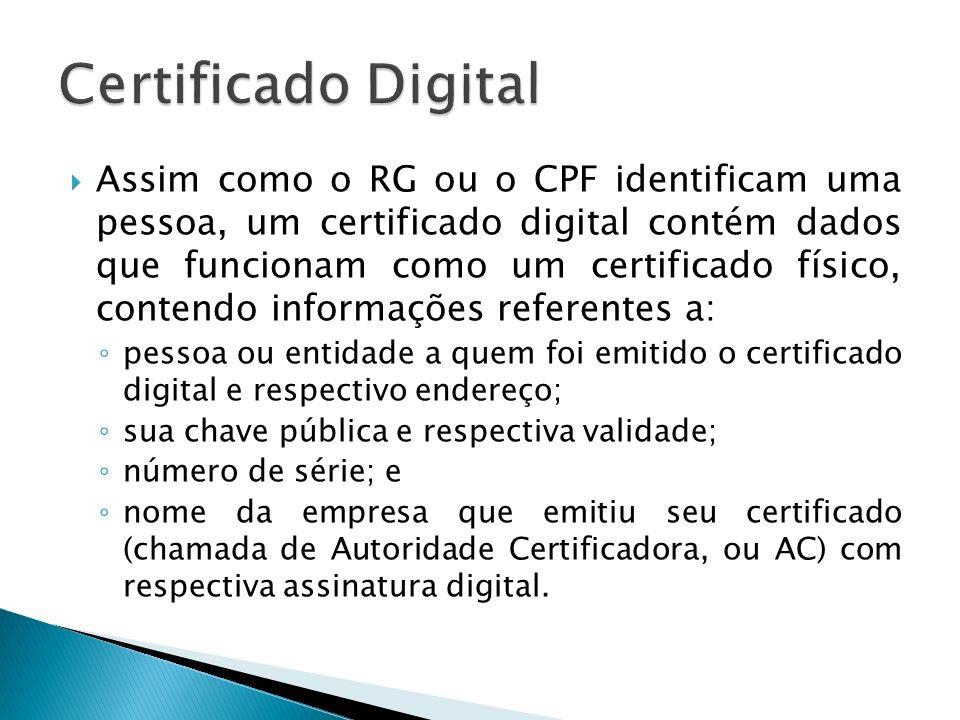Assim como o RG ou o CPF identificam uma pessoa, um certificado digital contém dados que funcionam como um certificado físico, contendo informações re