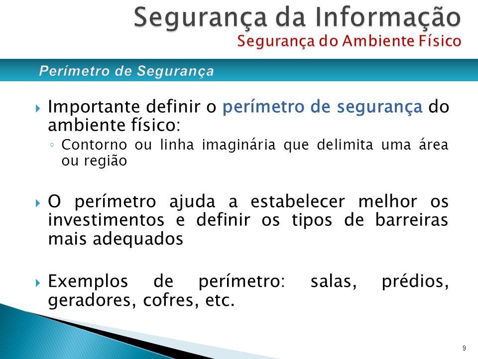 Importante definir o perímetro de segurança do ambiente físico: Contorno ou linha imaginária que delimita uma área ou região O perímetro ajuda a estab