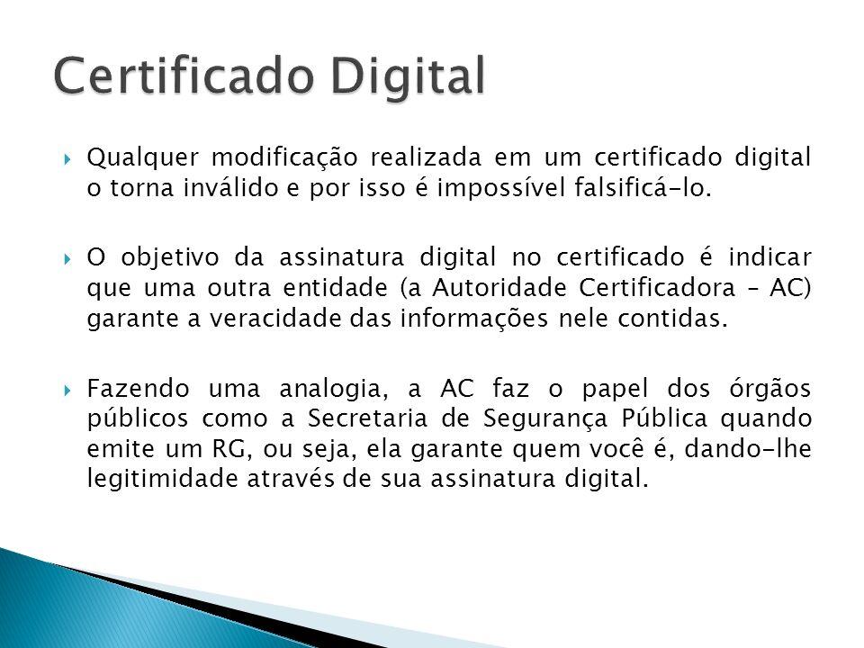 Qualquer modificação realizada em um certificado digital o torna inválido e por isso é impossível falsificá-lo. O objetivo da assinatura digital no ce