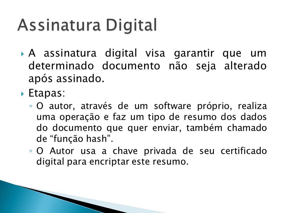 A assinatura digital visa garantir que um determinado documento não seja alterado após assinado. Etapas: O autor, através de um software próprio, real