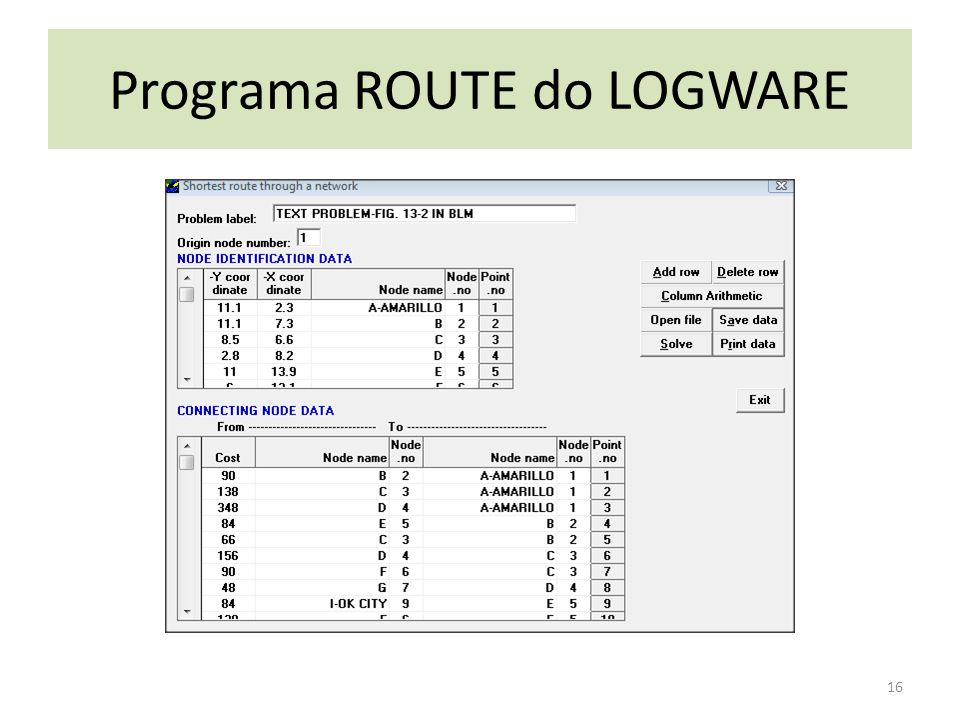 Programa ROUTE do LOGWARE 16