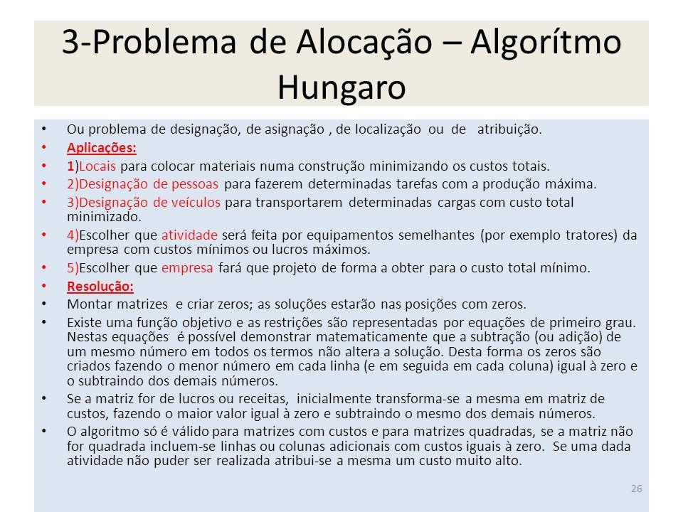 3-Problema de Alocação – Algorítmo Hungaro Ou problema de designação, de asignação, de localização ou de atribuição. Aplicações: 1)Locais para colocar