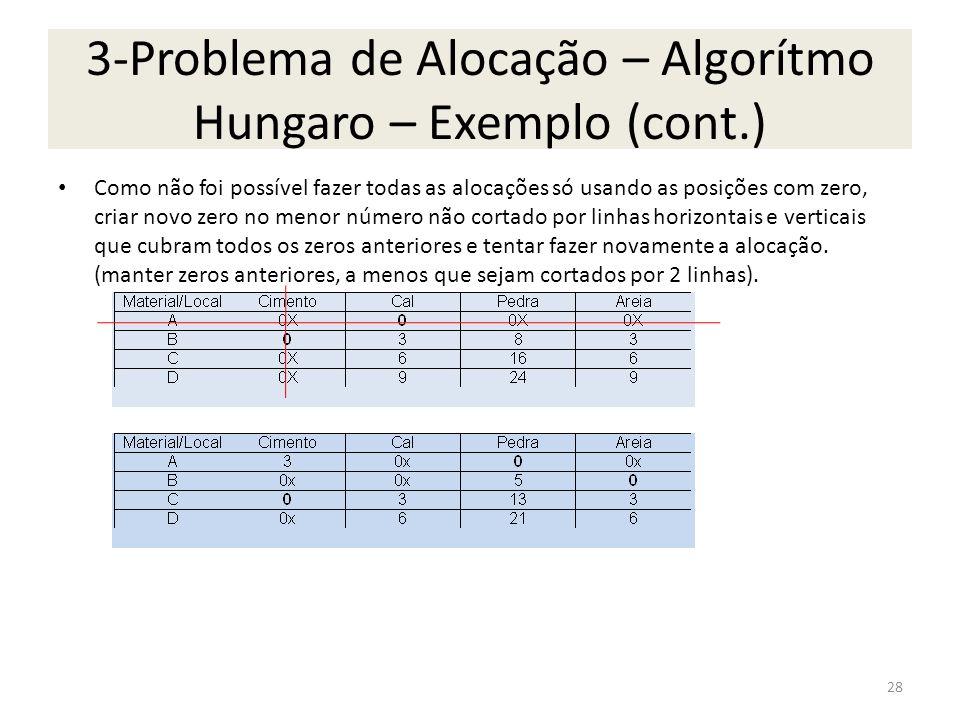 3-Problema de Alocação – Algorítmo Hungaro – Exemplo (cont.) Como não foi possível fazer todas as alocações só usando as posições com zero, criar novo