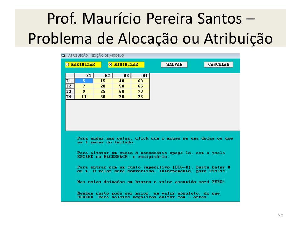 Prof. Maurício Pereira Santos – Problema de Alocação ou Atribuição 30
