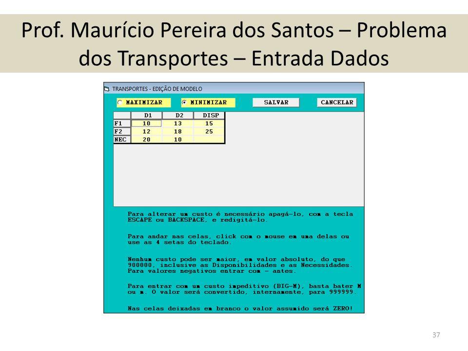 Prof. Maurício Pereira dos Santos – Problema dos Transportes – Entrada Dados 37