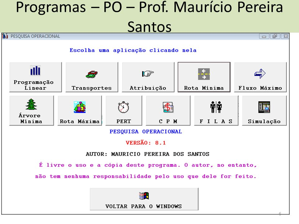 Programas – PO – Prof. Maurício Pereira Santos 6