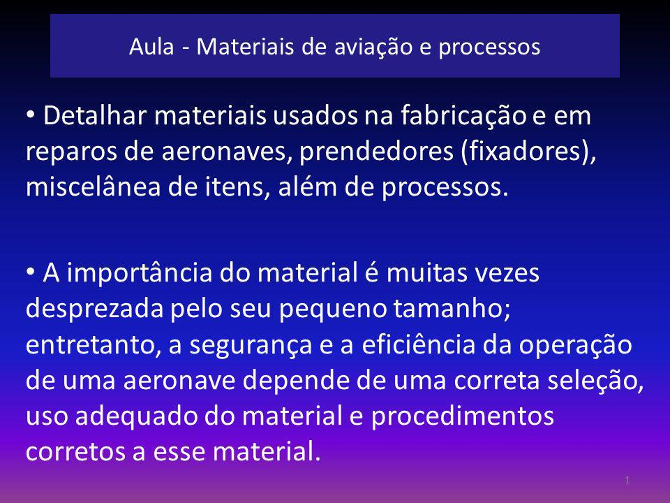 Aula - Materiais de aviação e processos Detalhar materiais usados na fabricação e em reparos de aeronaves, prendedores (fixadores), miscelânea de iten