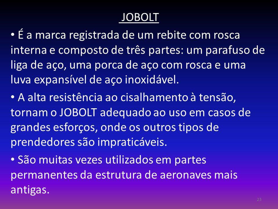 JOBOLT É a marca registrada de um rebite com rosca interna e composto de três partes: um parafuso de liga de aço, uma porca de aço com rosca e uma luv
