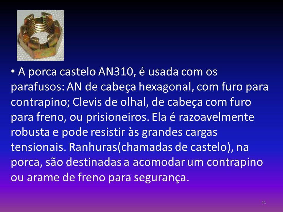 A porca castelo AN310, é usada com os parafusos: AN de cabeça hexagonal, com furo para contrapino; Clevis de olhal, de cabeça com furo para freno, ou