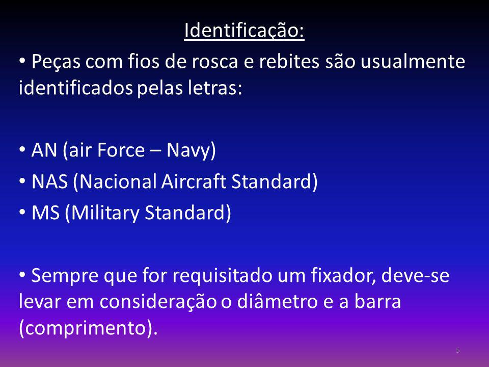 Identificação: Peças com fios de rosca e rebites são usualmente identificados pelas letras: AN (air Force – Navy) NAS (Nacional Aircraft Standard) MS
