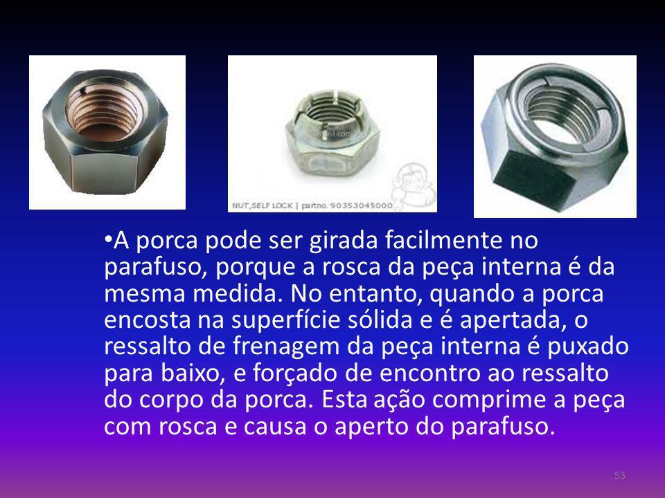 A porca pode ser girada facilmente no parafuso, porque a rosca da peça interna é da mesma medida. No entanto, quando a porca encosta na superfície sól