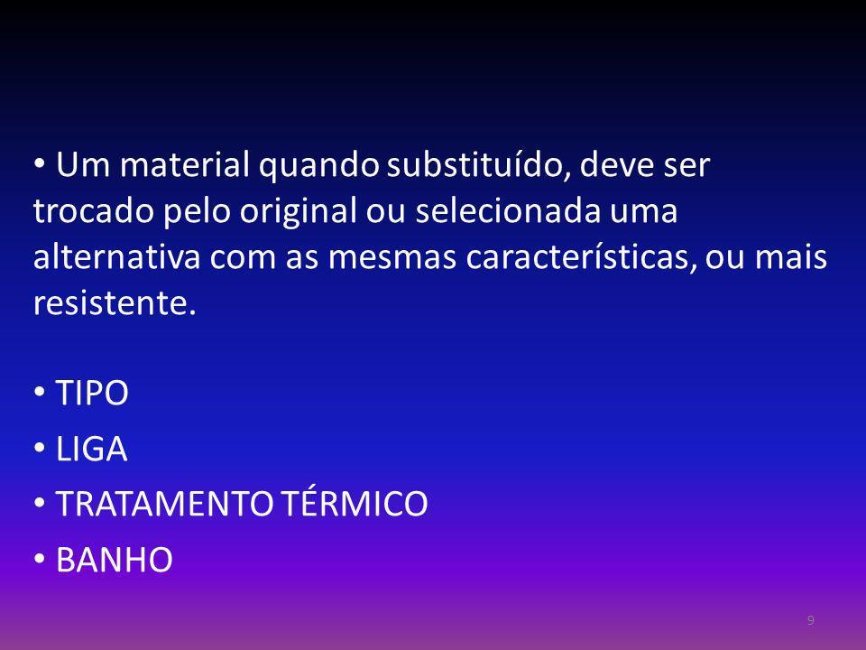 Um material quando substituído, deve ser trocado pelo original ou selecionada uma alternativa com as mesmas características, ou mais resistente. TIPO
