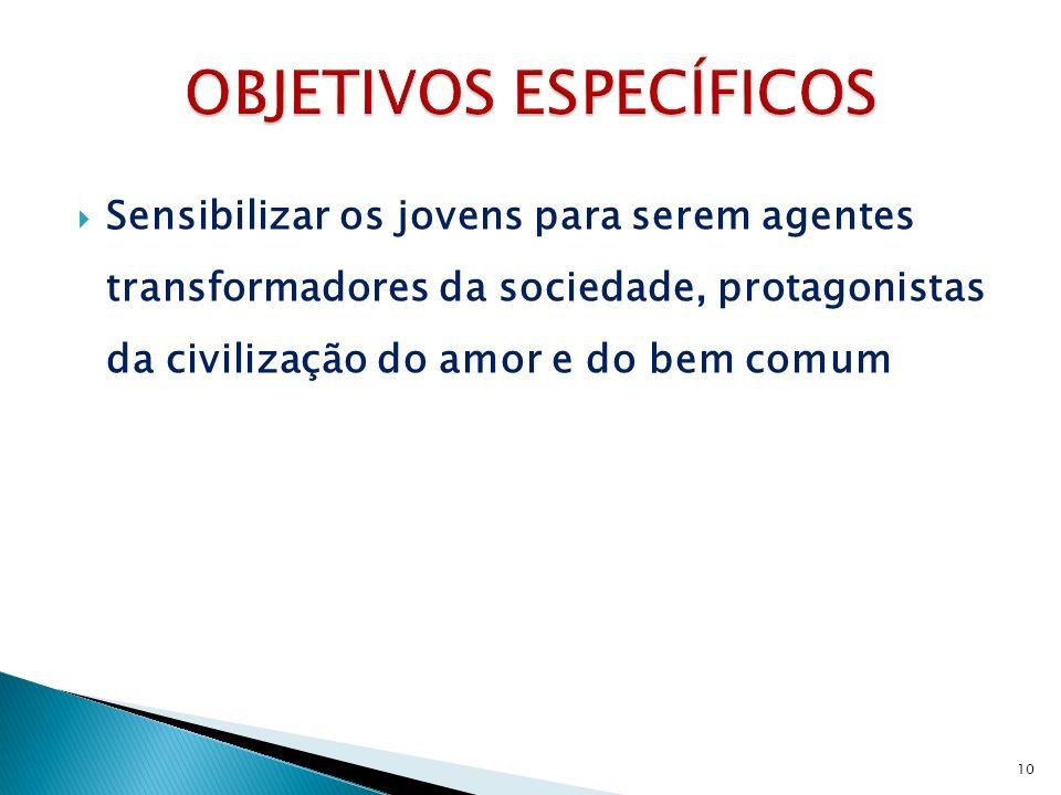 Sensibilizar os jovens para serem agentes transformadores da sociedade, protagonistas da civilização do amor e do bem comum 10