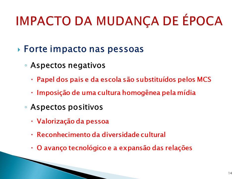 Forte impacto nas pessoas Aspectos negativos Papel dos pais e da escola são substituídos pelos MCS Imposição de uma cultura homogênea pela mídia Aspec