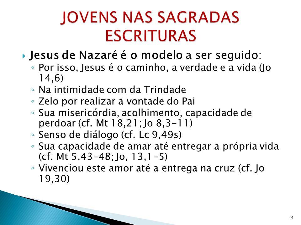 Jesus de Nazaré é o modelo a ser seguido: Por isso, Jesus é o caminho, a verdade e a vida (Jo 14,6) Na intimidade com da Trindade Zelo por realizar a