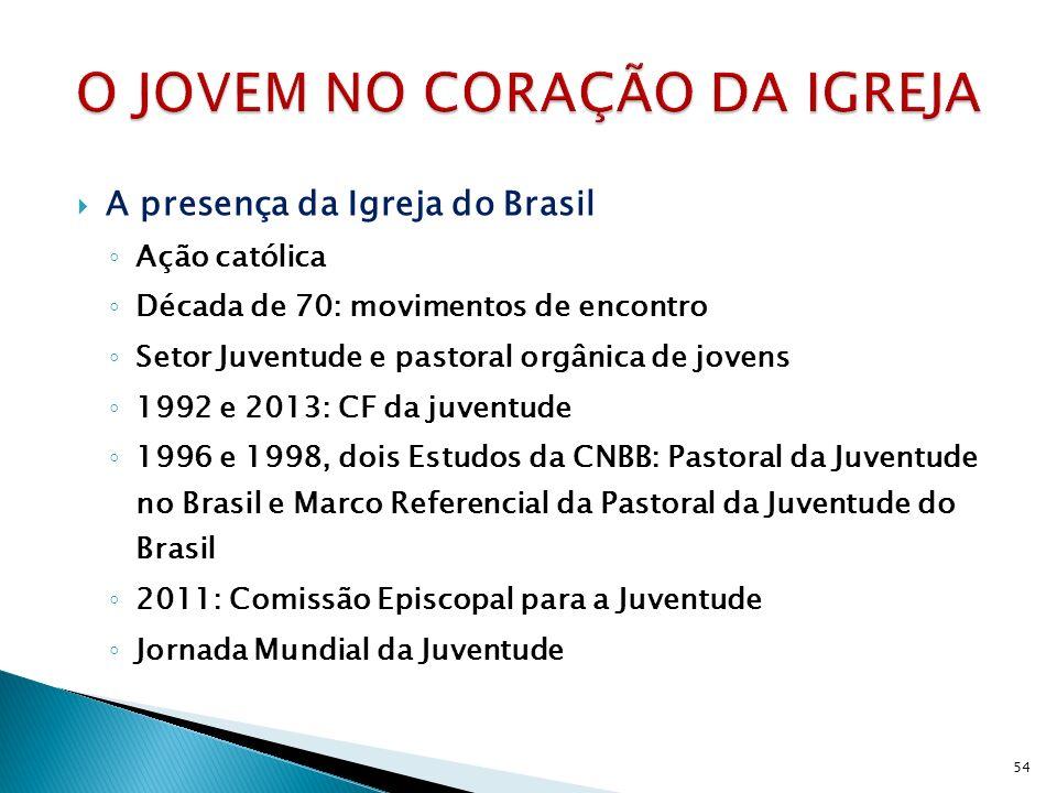 A presença da Igreja do Brasil Ação católica Década de 70: movimentos de encontro Setor Juventude e pastoral orgânica de jovens 1992 e 2013: CF da juv