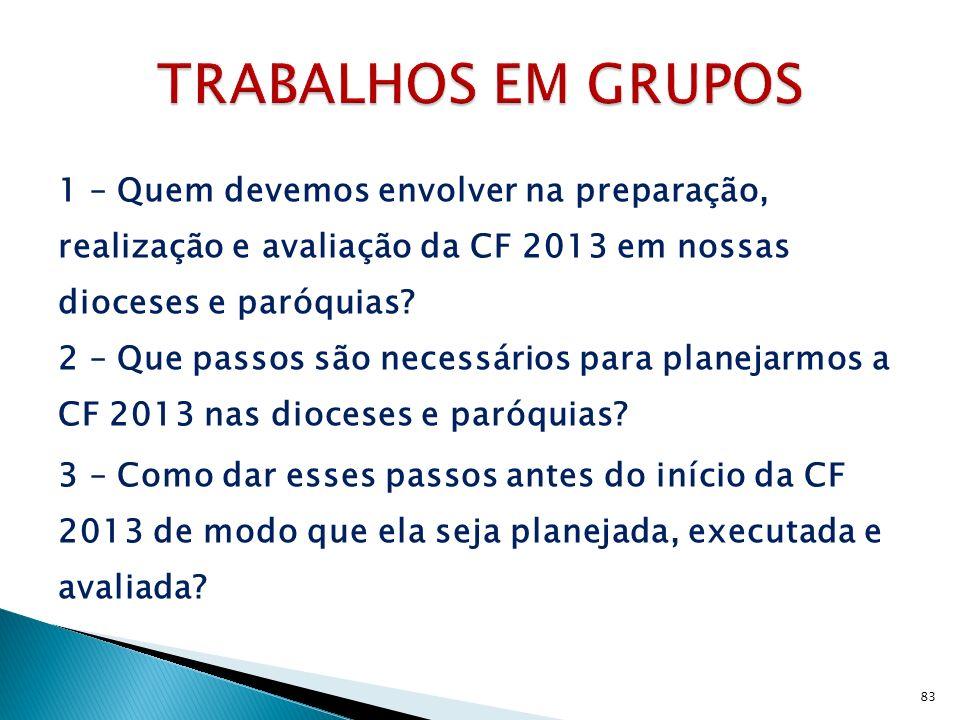 1 – Quem devemos envolver na preparação, realização e avaliação da CF 2013 em nossas dioceses e paróquias? 2 – Que passos são necessários para planeja