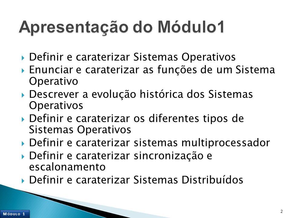 Definir e caraterizar Sistemas Operativos Enunciar e caraterizar as funções de um Sistema Operativo Descrever a evolução histórica dos Sistemas Operat