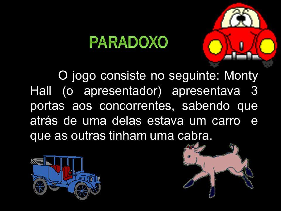 O jogo consiste no seguinte: Monty Hall (o apresentador) apresentava 3 portas aos concorrentes, sabendo que atrás de uma delas estava um carro e que as outras tinham uma cabra.