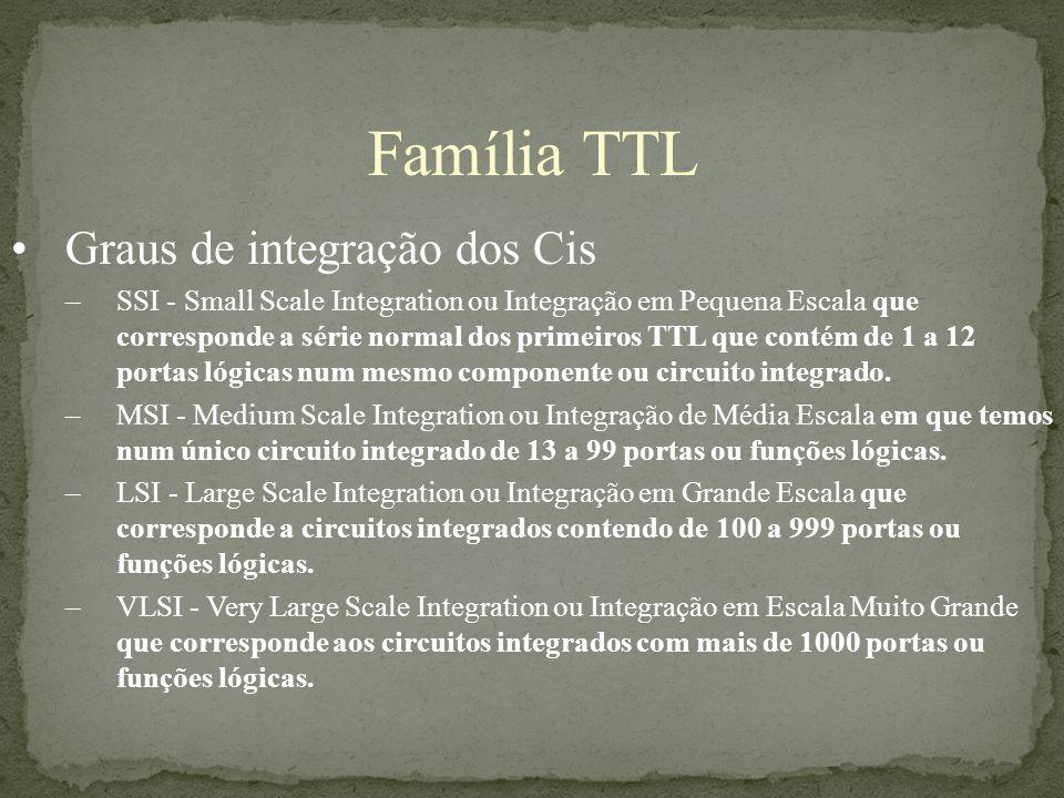 Família TTL Graus de integração dos Cis –SSI - Small Scale Integration ou Integração em Pequena Escala que corresponde a série normal dos primeiros TT