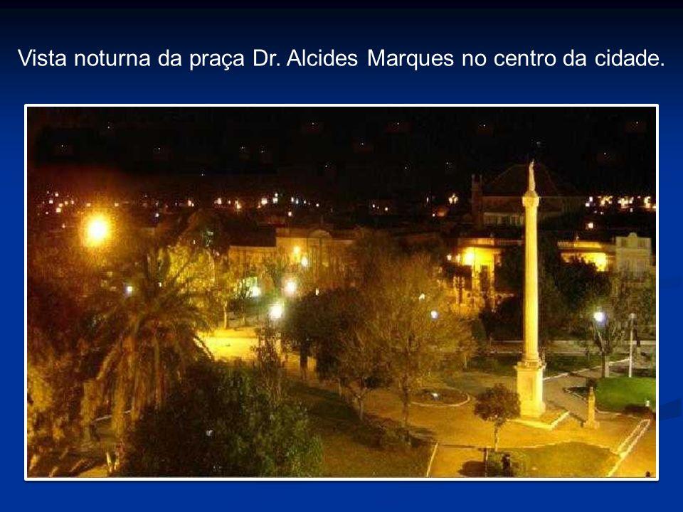 Vista noturna da praça Dr. Alcides Marques no centro da cidade.