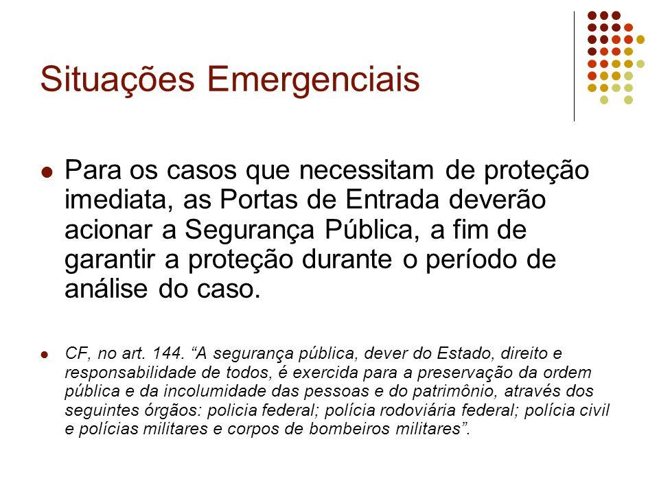 Situações Emergenciais Para os casos que necessitam de proteção imediata, as Portas de Entrada deverão acionar a Segurança Pública, a fim de garantir