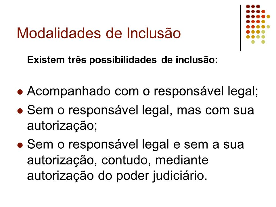 Modalidades de Inclusão Existem três possibilidades de inclusão: Acompanhado com o responsável legal; Sem o responsável legal, mas com sua autorização