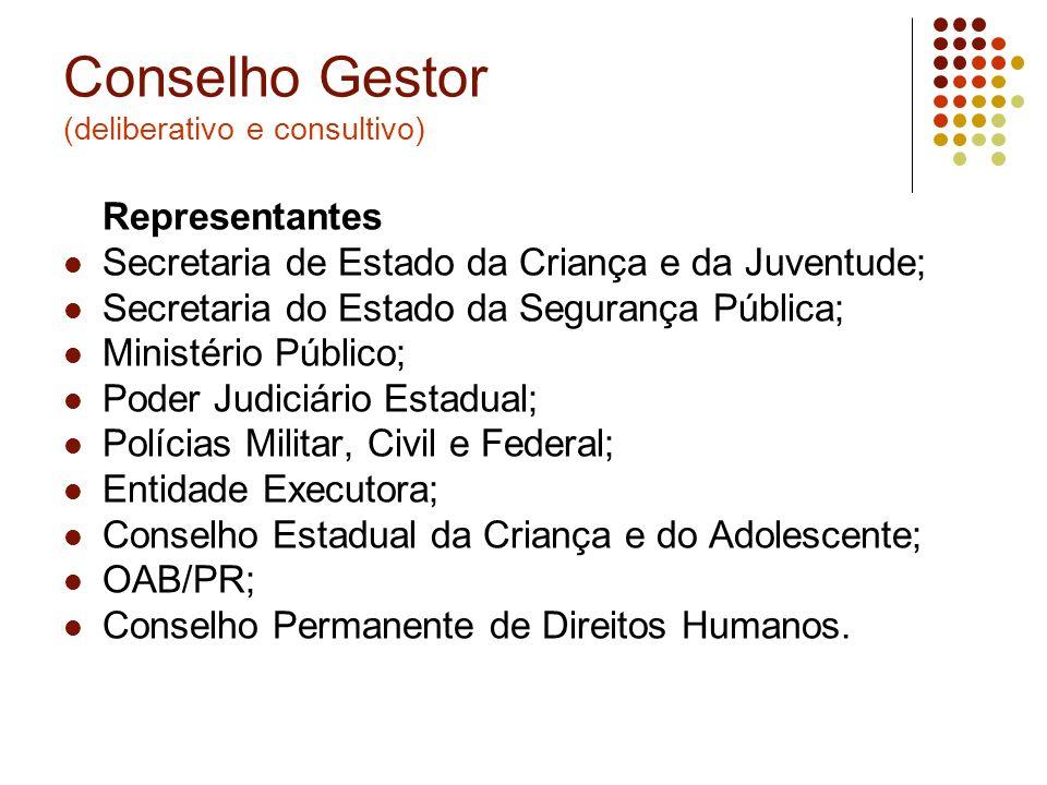 Conselho Gestor (deliberativo e consultivo) Representantes Secretaria de Estado da Criança e da Juventude; Secretaria do Estado da Segurança Pública;