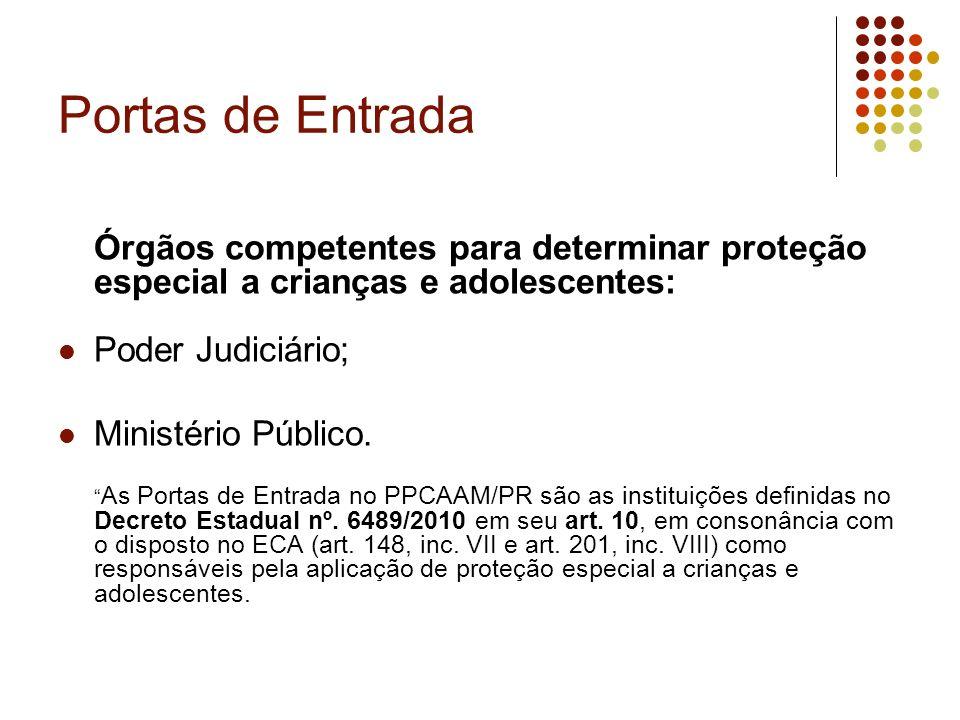 Portas de Entrada Órgãos competentes para determinar proteção especial a crianças e adolescentes: Poder Judiciário; Ministério Público. As Portas de E