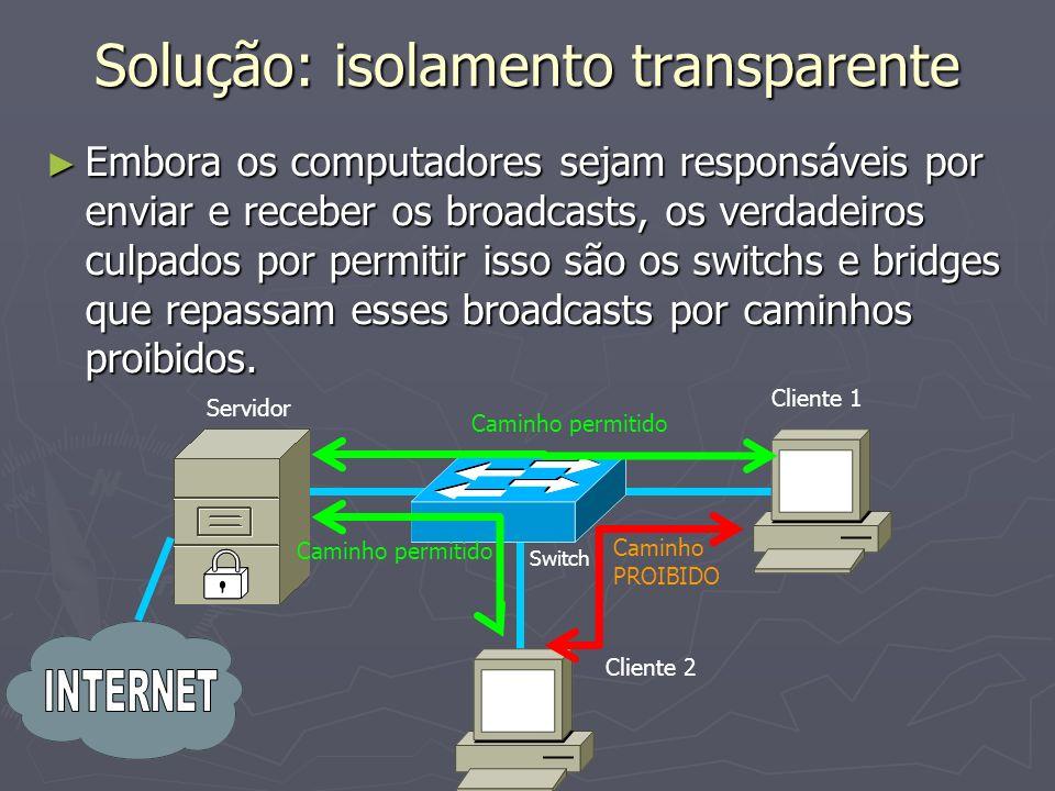 Solução: isolamento transparente Embora os computadores sejam responsáveis por enviar e receber os broadcasts, os verdadeiros culpados por permitir isso são os switchs e bridges que repassam esses broadcasts por caminhos proibidos.