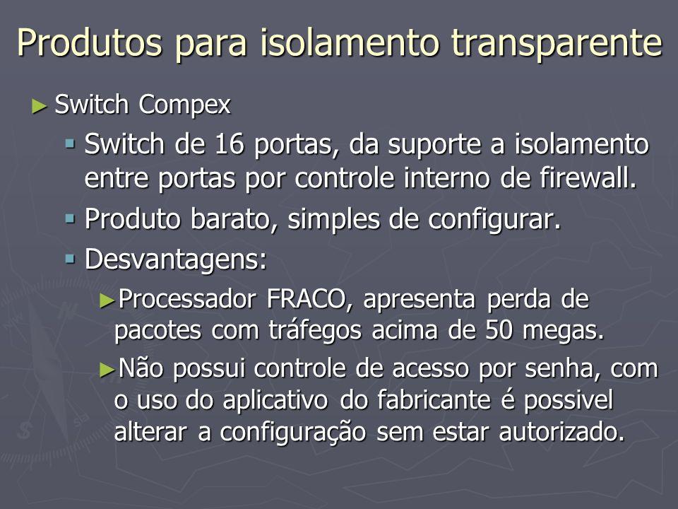 Produtos para isolamento transparente Switch Compex Switch Compex Switch de 16 portas, da suporte a isolamento entre portas por controle interno de firewall.