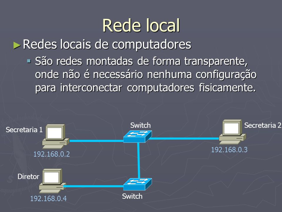 Rede local Redes locais de computadores Redes locais de computadores São redes montadas de forma transparente, onde não é necessário nenhuma configuração para interconectar computadores fisicamente.