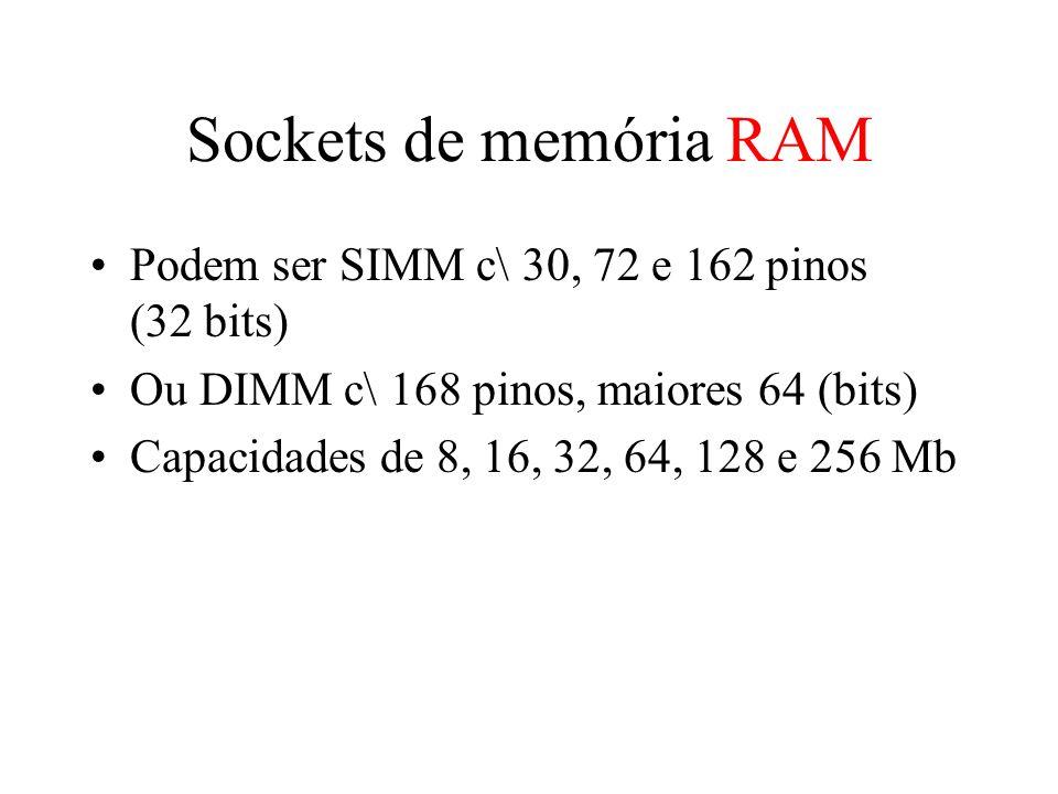 Sockets de memória RAM Podem ser SIMM c\ 30, 72 e 162 pinos (32 bits) Ou DIMM c\ 168 pinos, maiores 64 (bits) Capacidades de 8, 16, 32, 64, 128 e 256