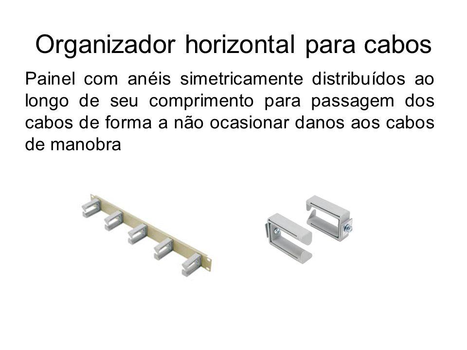 Organizador horizontal para cabos Painel com anéis simetricamente distribuídos ao longo de seu comprimento para passagem dos cabos de forma a não ocas