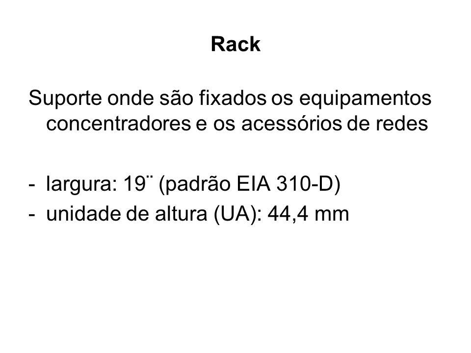 Rack Suporte onde são fixados os equipamentos concentradores e os acessórios de redes -largura: 19¨ (padrão EIA 310-D) -unidade de altura (UA): 44,4 m
