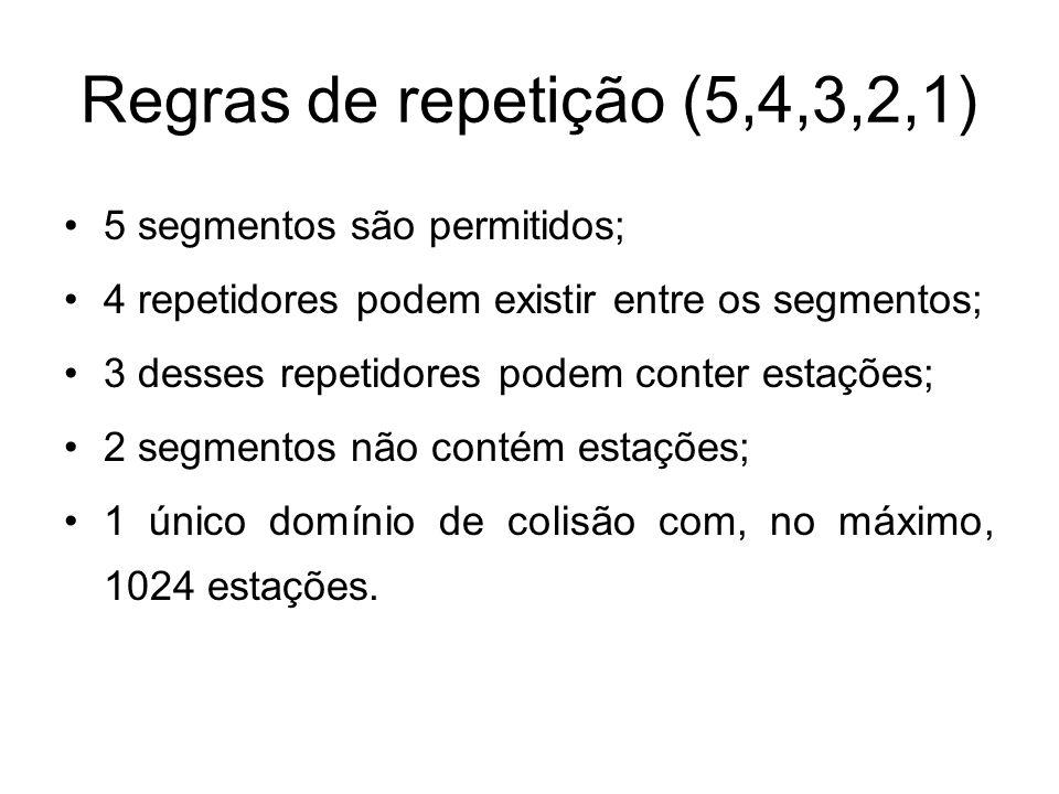 Regras de repetição (5,4,3,2,1) 5 segmentos são permitidos; 4 repetidores podem existir entre os segmentos; 3 desses repetidores podem conter estações