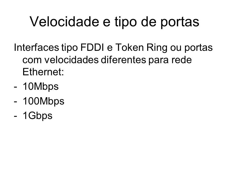 Velocidade e tipo de portas Interfaces tipo FDDI e Token Ring ou portas com velocidades diferentes para rede Ethernet: -10Mbps -100Mbps -1Gbps