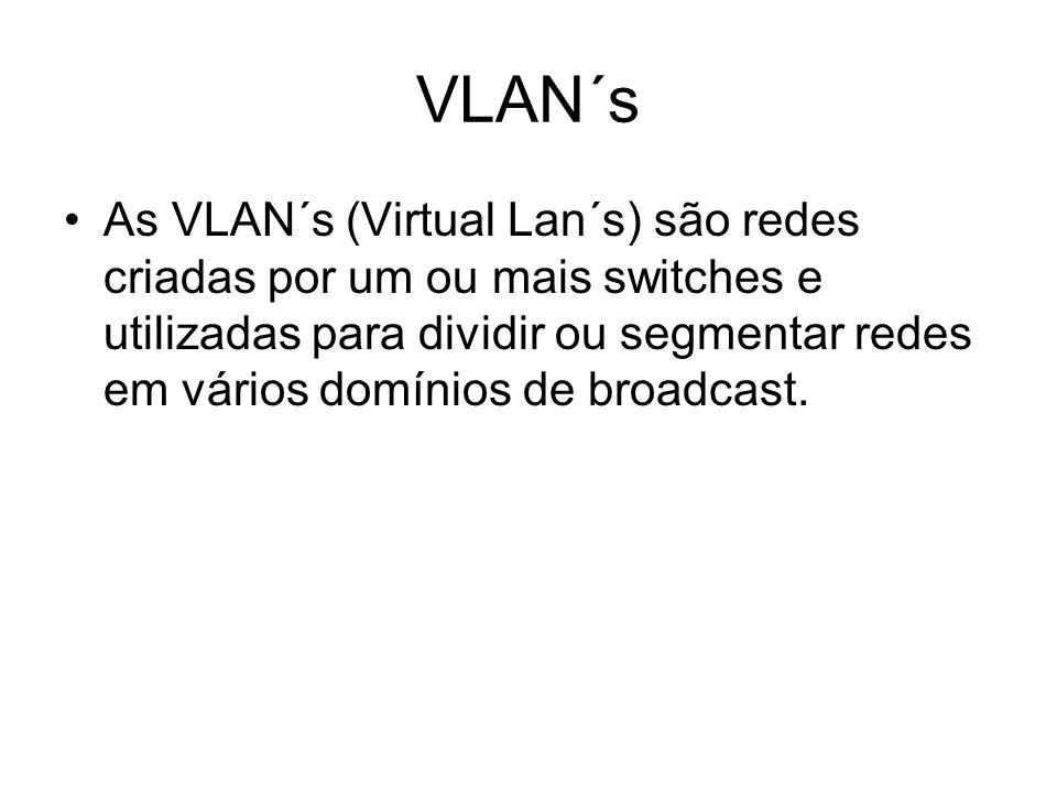 VLAN´s As VLAN´s (Virtual Lan´s) são redes criadas por um ou mais switches e utilizadas para dividir ou segmentar redes em vários domínios de broadcas